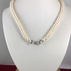 Vintage White 18 Inch 7.5MM Baroque Pearl Necklace